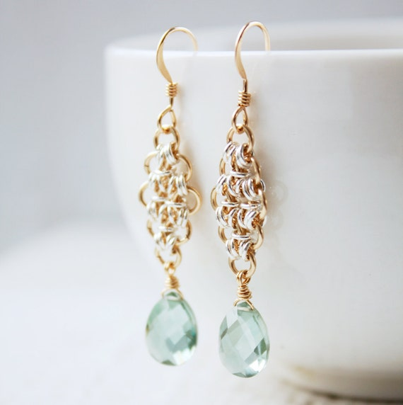 Green Teal Quartz Earrings - Two Tone - Gold and Silver, Chain Maille Earrings