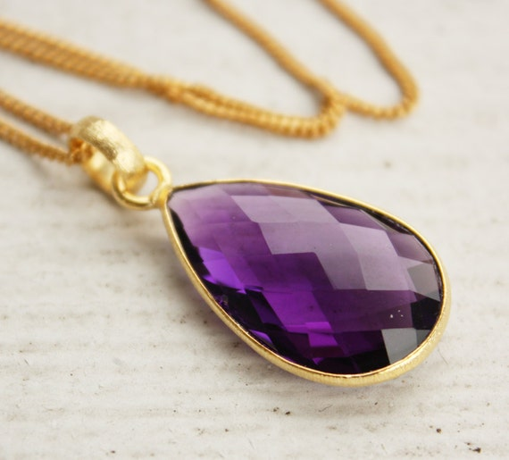 Purple Amethyst Quartz Necklace - Gold and Purple - Holiday Glam