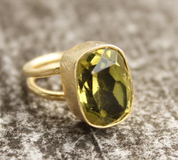 Green Peridot Quartz Ring - Rectangular - Adjustable Ring, Cocktail Ring