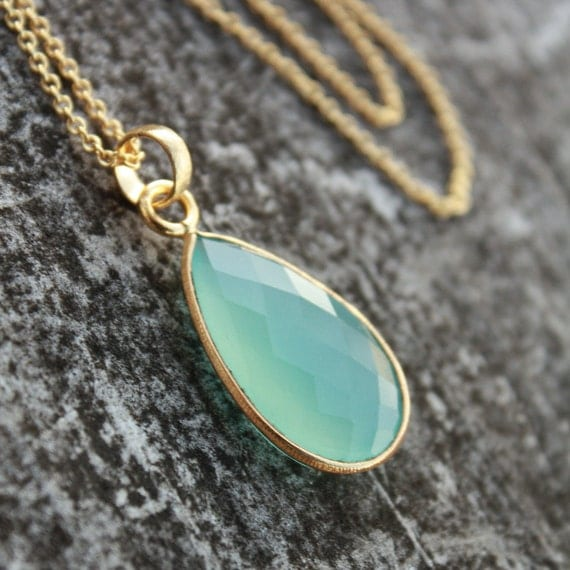 Aqua Blue Chalcedony Necklace - Teardrop - Dreamy Glow, Caribbean Blue