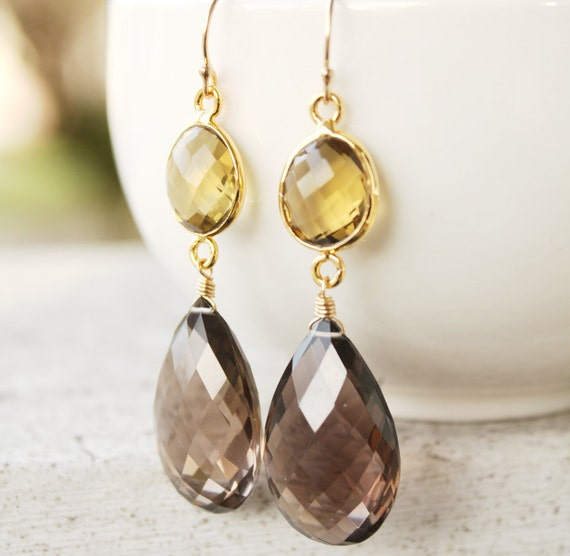 Smokey Quartz and Champagne Citrine Earrings - 14KT Gold - Glamorous and Classy
