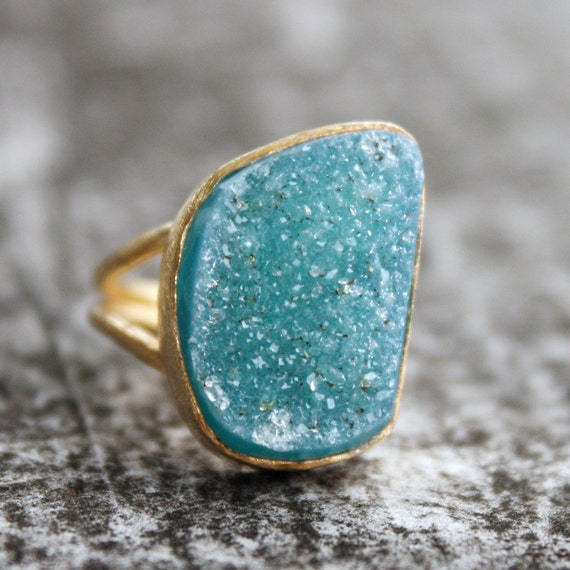 Blue Agate Druzy Ring - Aqua Blue - Adjustable, One of a Kind