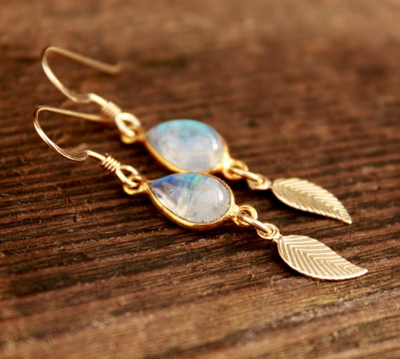 Rainbow Moonstone and Feather Earrings  - 14KT Gold Fill