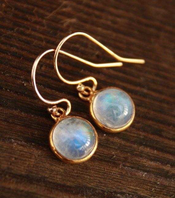 Petite Rainbow Moonstone Earrings - 14KT gold fill