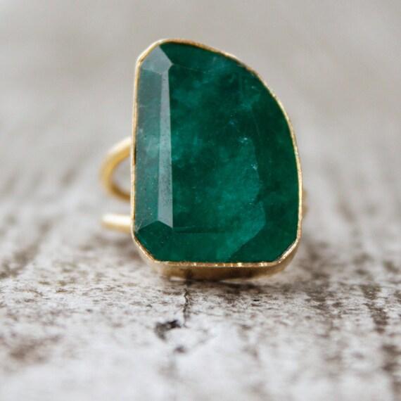 OOAK Gold Green Emerald Quartz - Adjustable Ring