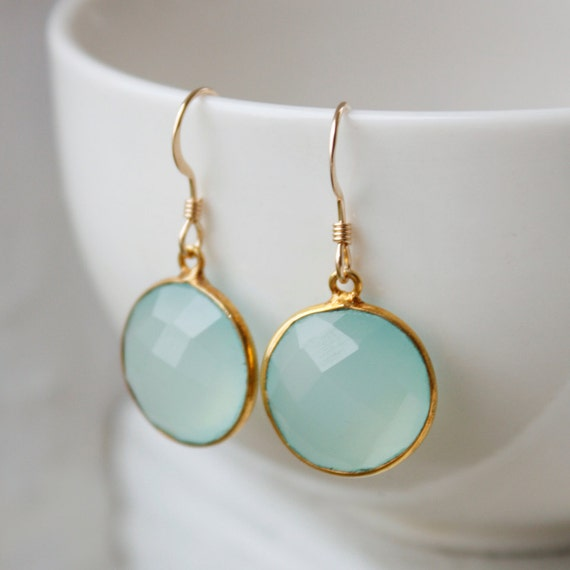 Aqua Chalcedony Earrings - Sea Foam Green - Simple Drops, Spring Green