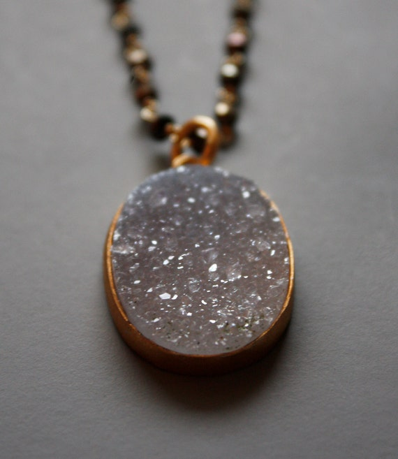 Agate Druzy Geode Slice Necklace - Oval Shape, Black Pyrite, Layering Necklace
