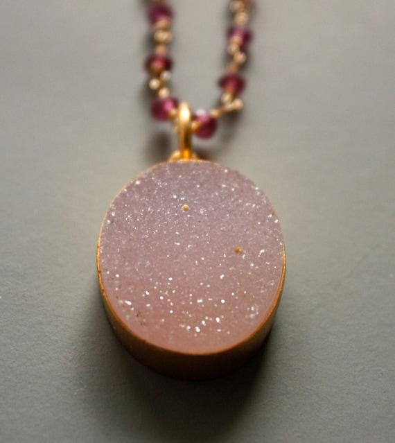 Soft Pink Agate Druzy Necklace - Moonstone, Rhodolite - Rose Pink