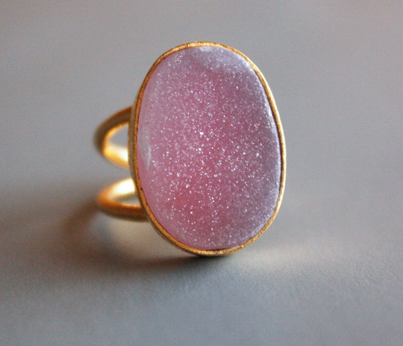 Rosy Pink Druzy Ring - Oval Stone Ring - Bold, Adjustable Ring
