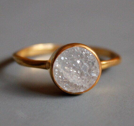 Gemstone Ring - Druzy Ring - Round Shape - Stacking Ring