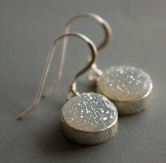 Soft Grey Druzy Earrings - Geode Earrings - Sterling Silver