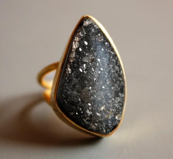 The Galaxy Black Agate Druzy Ring - Black, Soft Grey - Adjustable Ring, OOAK Shape