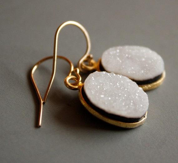 Gold White Druzy Earrings - Onyx Druzy - 14KT Gold Fill