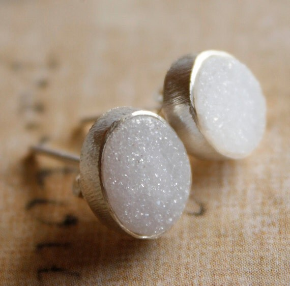 Natural Agate Druzy Studs - Oval - Soft Grey, Agate Geode Slice