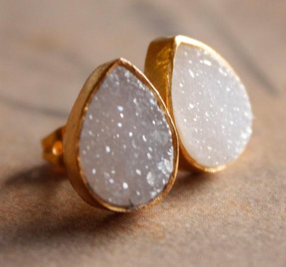 Gold White Druzy Studs - Teardrop Post Earrings - Geode Studs