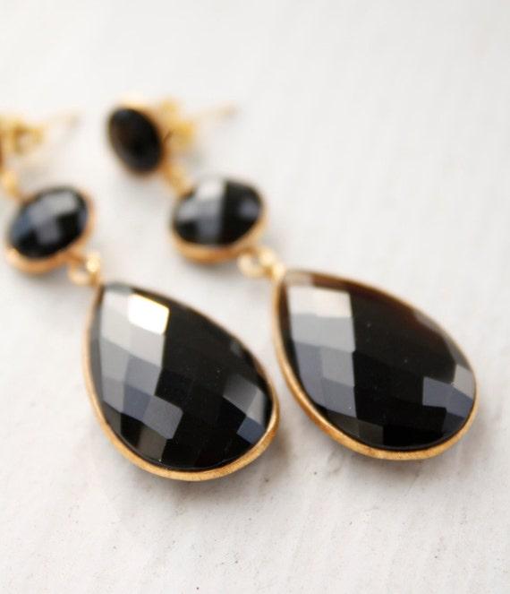 Black Onyx Earrings - Dark Glamour, Sexy - Chandelier Post Earrings