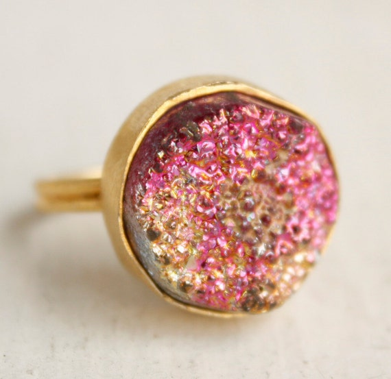 Fuschia Pink and Metallic Gold Druzy Ring - Titanium Coated - Adjustable Ring