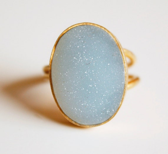 Aqua Blue Agate Druzy Ring - Oval Cut - Adjustable ring