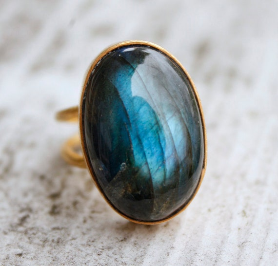 Blue Labradorite Ring - Long Oval Stone Ring - Adjustable, The Northern Lights, Bold Ring