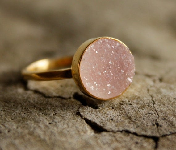Rosy Pink Agate Druzy Ring - Apricot, Peach - Soft Pink, Romantic, Mothers Day Gift, AAA Quality