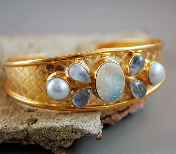 White and Blue Agate Druzy Cuff - Rainbow Moonstone, Freshwater Pearl - Adjustable Cuff, Statement Jewelry