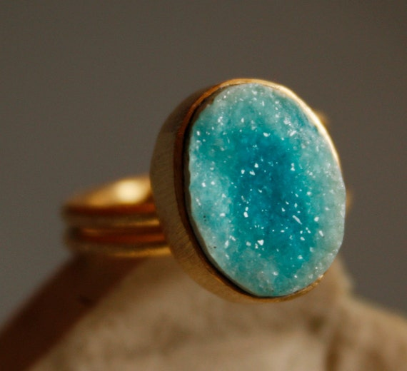 Turquoise Blue Agate Druzy Ring - Oval Stone Ring - Ocean Blue, Spring Fashion