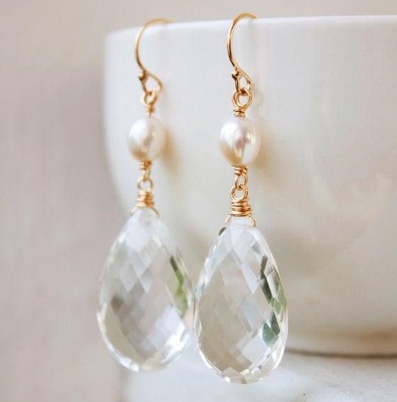 Bridal Earrings - Gold Crystal Earrings - Freshwater Pearls, Crystal Quartz, Spring Weddings
