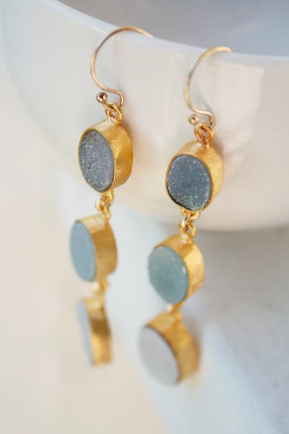 Natural Soft Grey and Aqua Blue Agate Druzy Long Earrings - Gold Geode Earrings