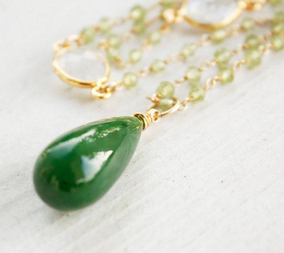 Green Jade and Green Peridot Necklace - Rainbow Moonstone - Nephrite Jade, Emerald Green