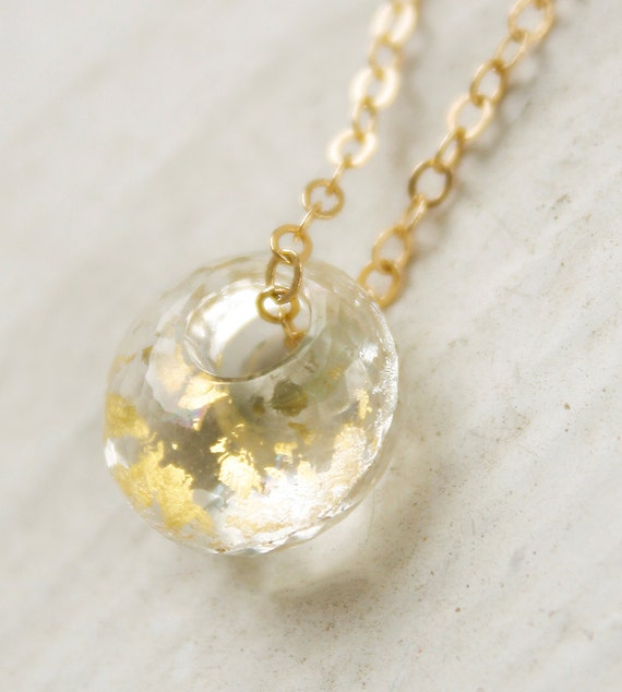 Boxing Day Sale Gold Crystal Quartz Petite Necklace - Gold Foil Inlayed - 14KT Gold Fill