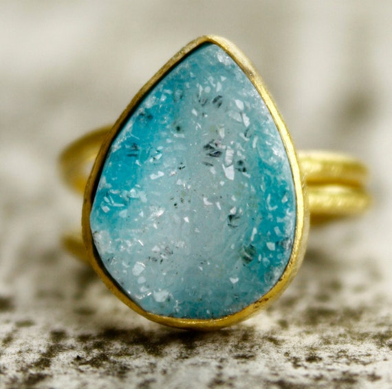 Turquoise Blue Agate Druzy Ring - Teardrop Stone Ring - Aqua blue, Statement Ring