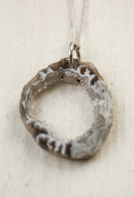 SALE - Charcoal Grey Raw Geode Necklace - Rhodium Plated - Organic Shape - MARKED DOWN