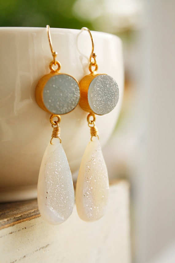 Soft Blue and White Agate Druzy Earrings - Geode Earrings - Dreamy, Something Blue