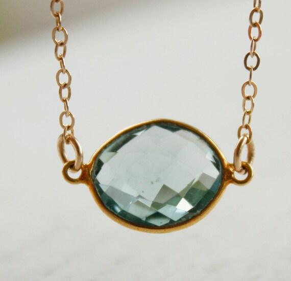 Aqua Blue Quartz- Aqua Gemstone - Bezel Necklace, 14KT Gold Fill, Summer Blues