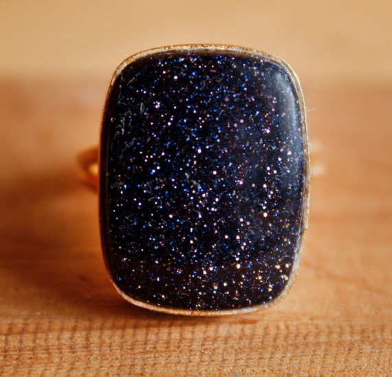 Blue Sunstone Ring - Chunky Stone Ring - Rectangular, Adjustable, Starry Night