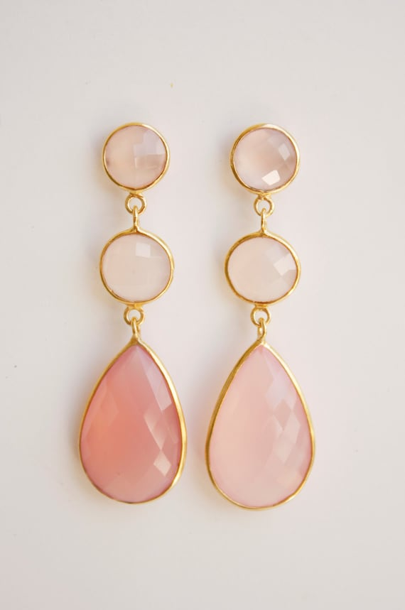 Gold Pink Chalcedony Earrings - Pink Stone Earrings - Post Setting, Bridal Earrings