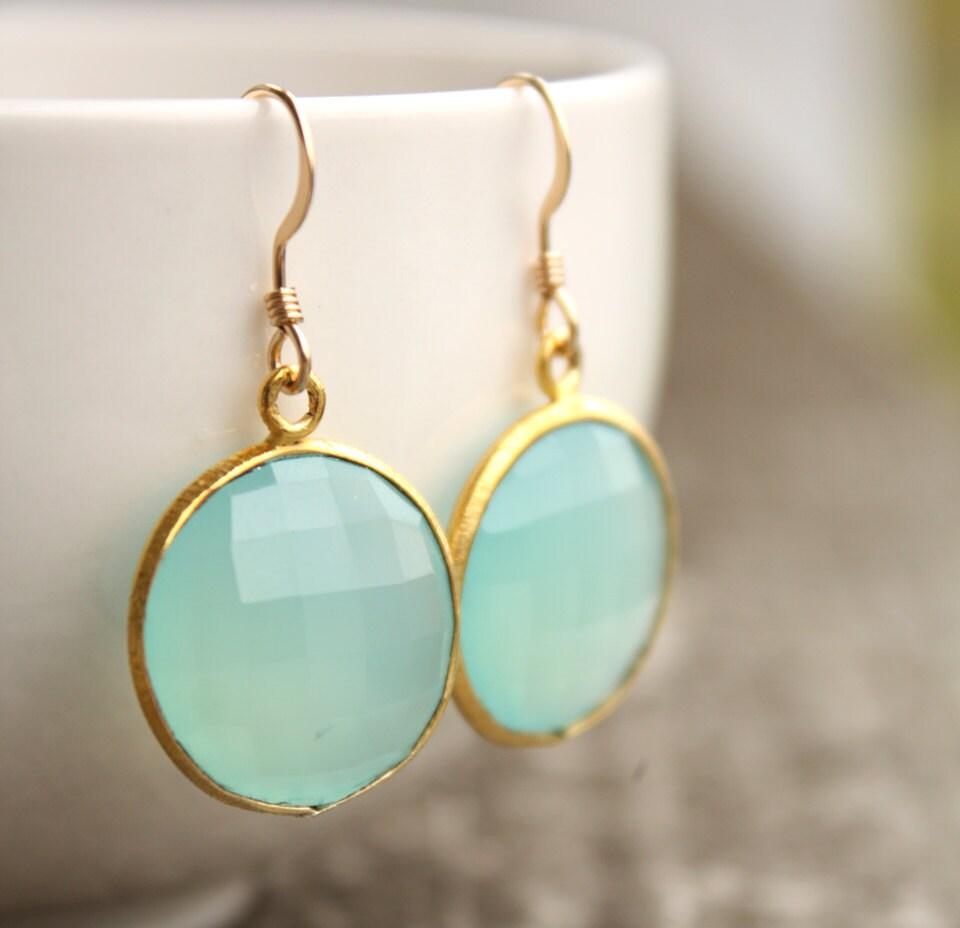 Aqua Blue Chalcedony Earrings Gold Chalcedony Earrings