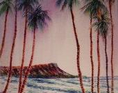 Misty Dawn, Diamond Head - A FINE ART PRINT of a Woody Chock Original Watercolor Painting