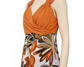 Orange and flowers wrap blouse with polymer button