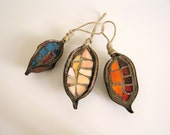 ornaments - mosaic handmade in 3 natural pods - Christmas Tree and House decoration