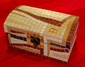 mosaic box - handmade mosaic with ceramic tiles and velvet paper inside
