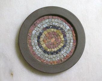 Decorative plate with handmade greek marble mosaic