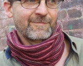 Neckwarmer Cowl Cycle Mens scarf Rust Burgundy Stripe Cotton knit