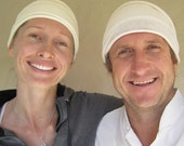 His and Hers White Kundalini Yoga Head wraps 2 head covers for Summer yoga and White Tantric wear