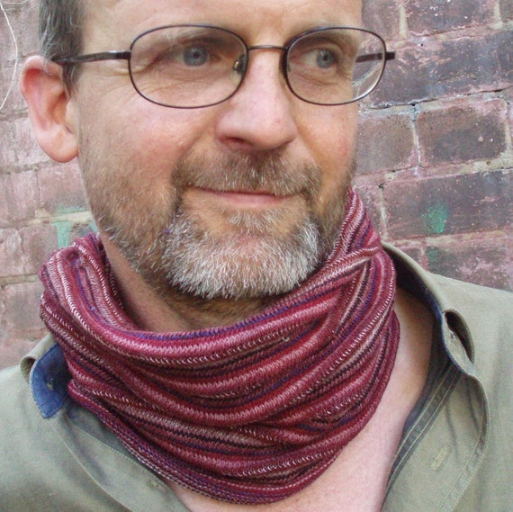 Neckwarmer Cowl Cycle Mens scarf Rust Burgundy Stripe Cotton knit