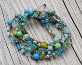 Colors of the Sea -Hand Crocheted Beach Wrap bracelet  - or Single Strand Necklace