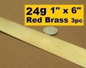 Cuff Blanks 24g Red Brass 1 inch x 6 inches 3 pieces