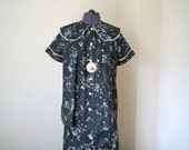1950s Maternity Suit Delightful NOS Fruit of the Loom blouse and skirt set atomic Black print cotton M L