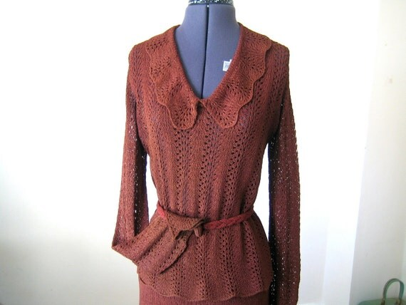 REDUCED 1930s knit sweater, skirt and belt set / incredibly hand knit rayon set / L, XL