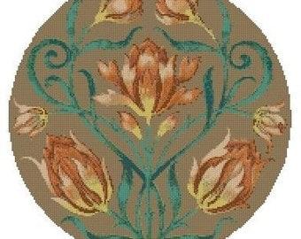 Circle of Tulips Cross Stitch E-Pattern